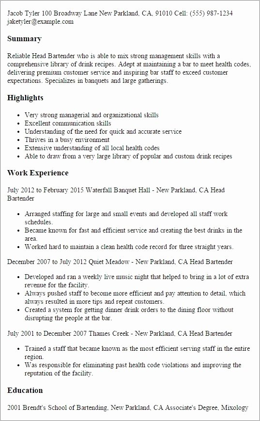 Bartender Duties Resume Best Resume Collection