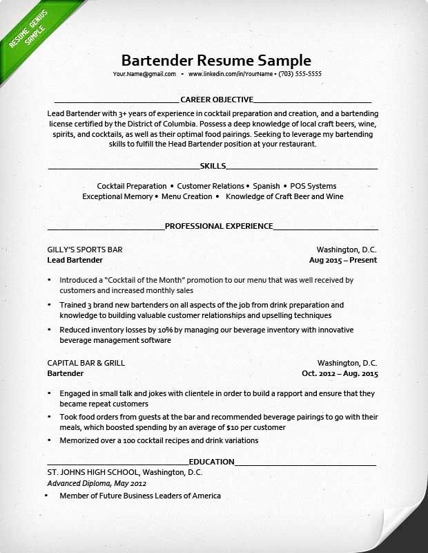 Bartender Job Description Resume Best Resume Collection