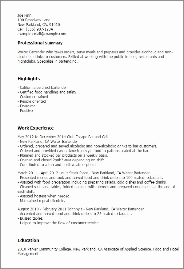 Bartender Responsibilities for Resume Best Resume Collection