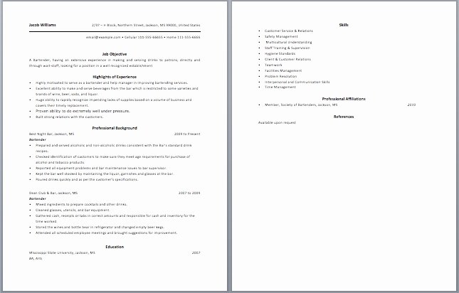 Bartender Responsibilities for Resume Best Resume Gallery