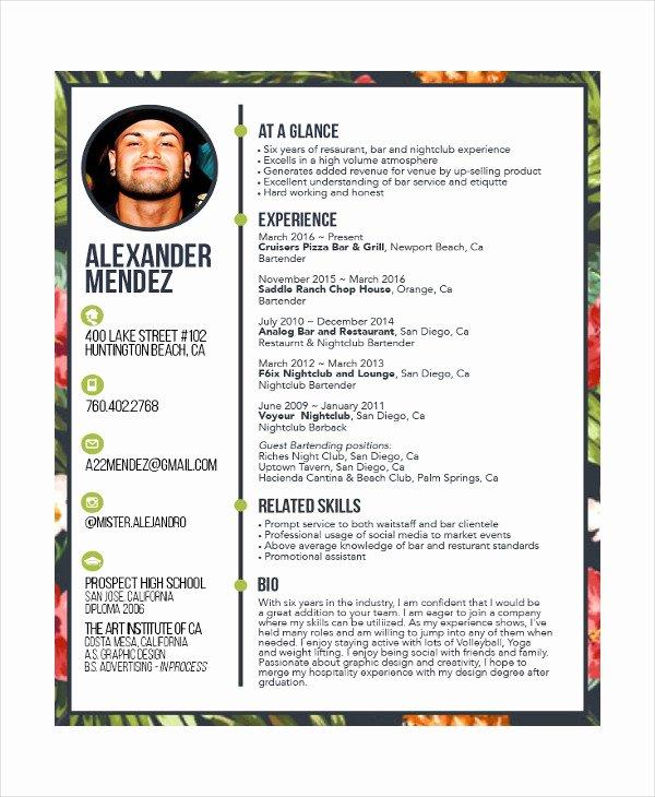 Bartending Resume Templates Best Resume Collection – Latter ...