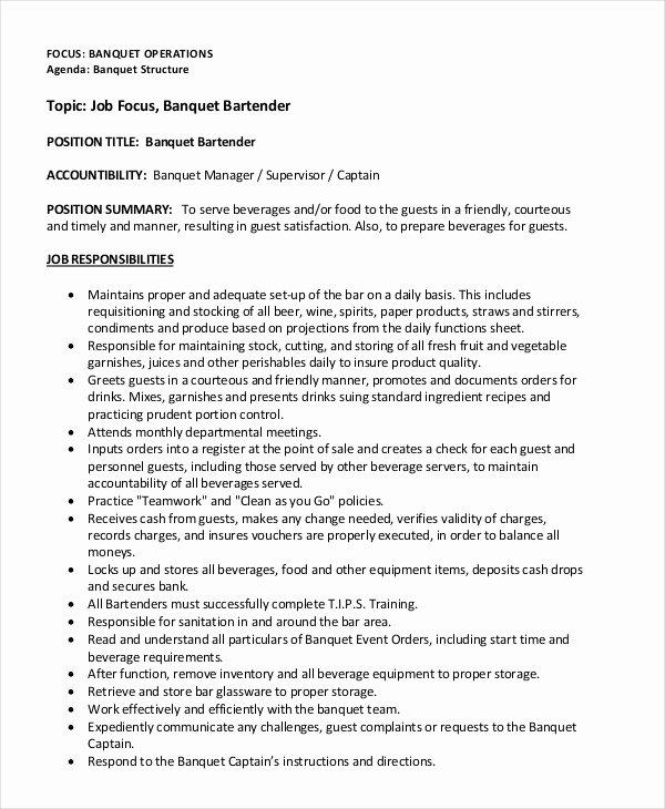 Bartender Resume 8 Free Sample Example format