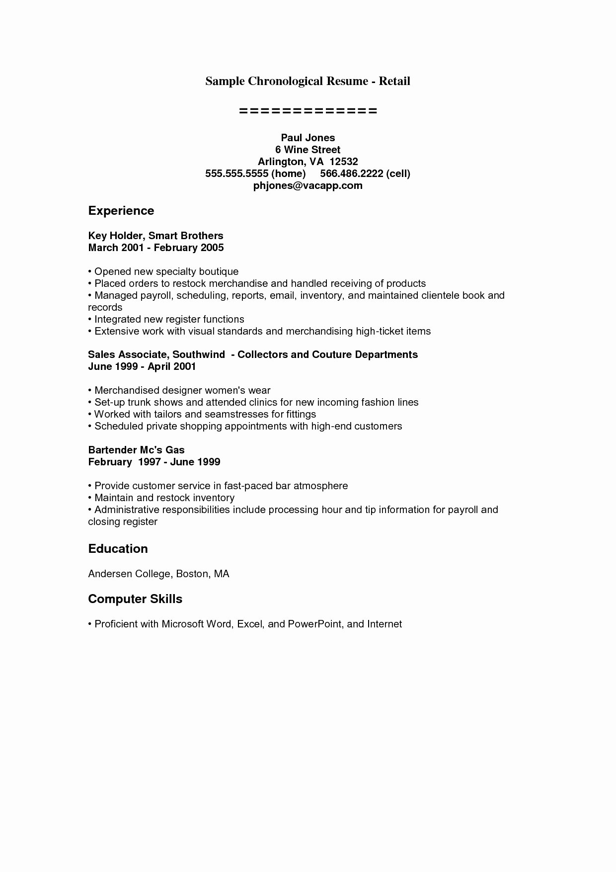 Bartender Resume Example Template
