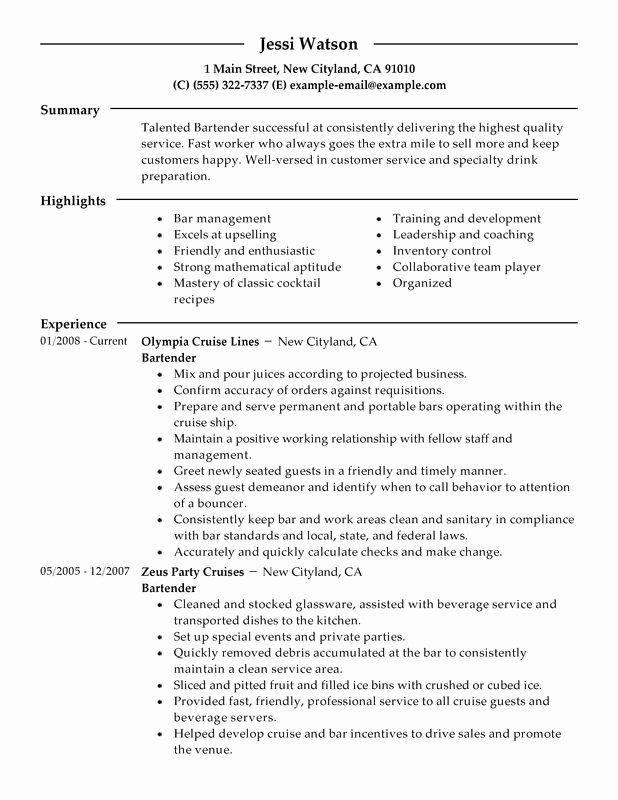Bartender Resume Examples – Free to Try today