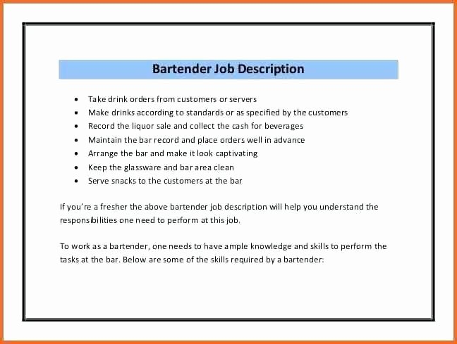 Bartender Resume Job Description Best Resume Collection
