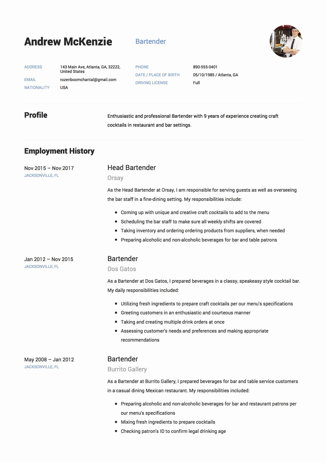 Bartender Resume Sample 12 Creative Resume Examples