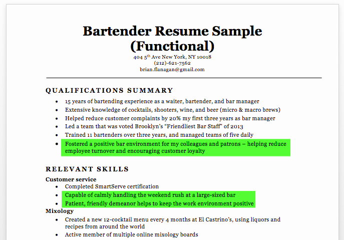 Bartender Resume Sample & Writing Tips