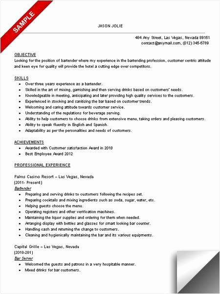 Bartender Resume Sample Objective & Skills