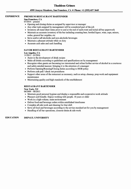 Bartender Resume