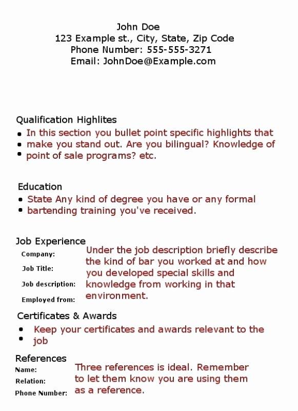 Bartender Skills Resume Best Resume Gallery