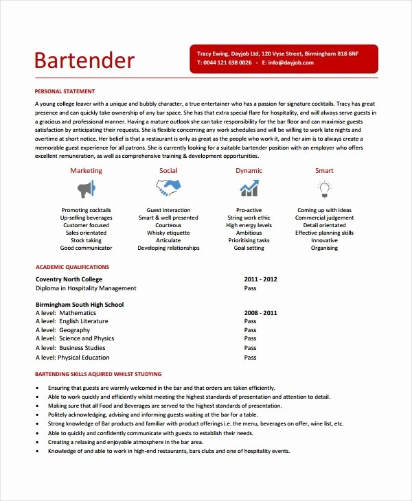 Bartending Resume Templates Best Resume Collection – Latter Example ...
