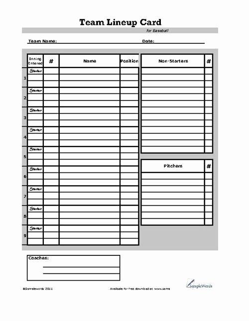 Baseball Lineup Card
