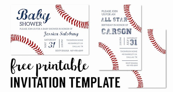 Baseball Party Invitations Free Printable Paper Trail Design