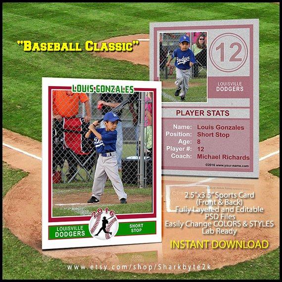 Baseball Sports Trader Card Template for Shop Baseball