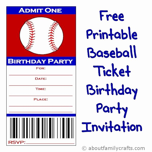 Baseball Ticket Birthday Party Invitation – About Family