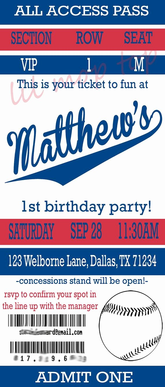 Baseball Ticket Invitation for Birthday or Baby Shower
