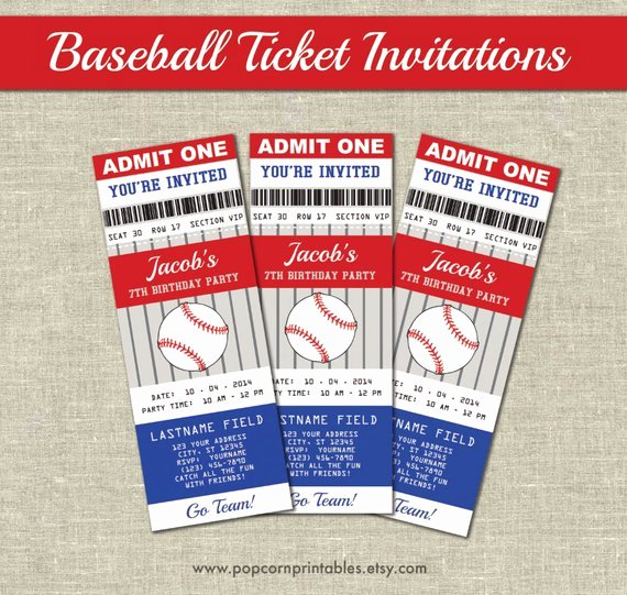 Baseball Ticket Invitations Printables Editable Text Pdf