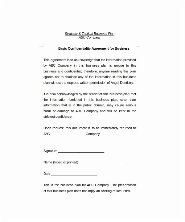Basic Confidentiality Agreement – 18 Free Word Pdf
