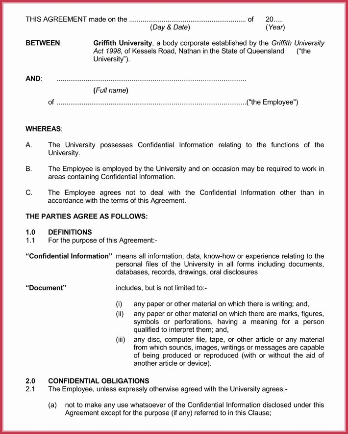 Basic Confidentiality Non Disclosure Agreement forms