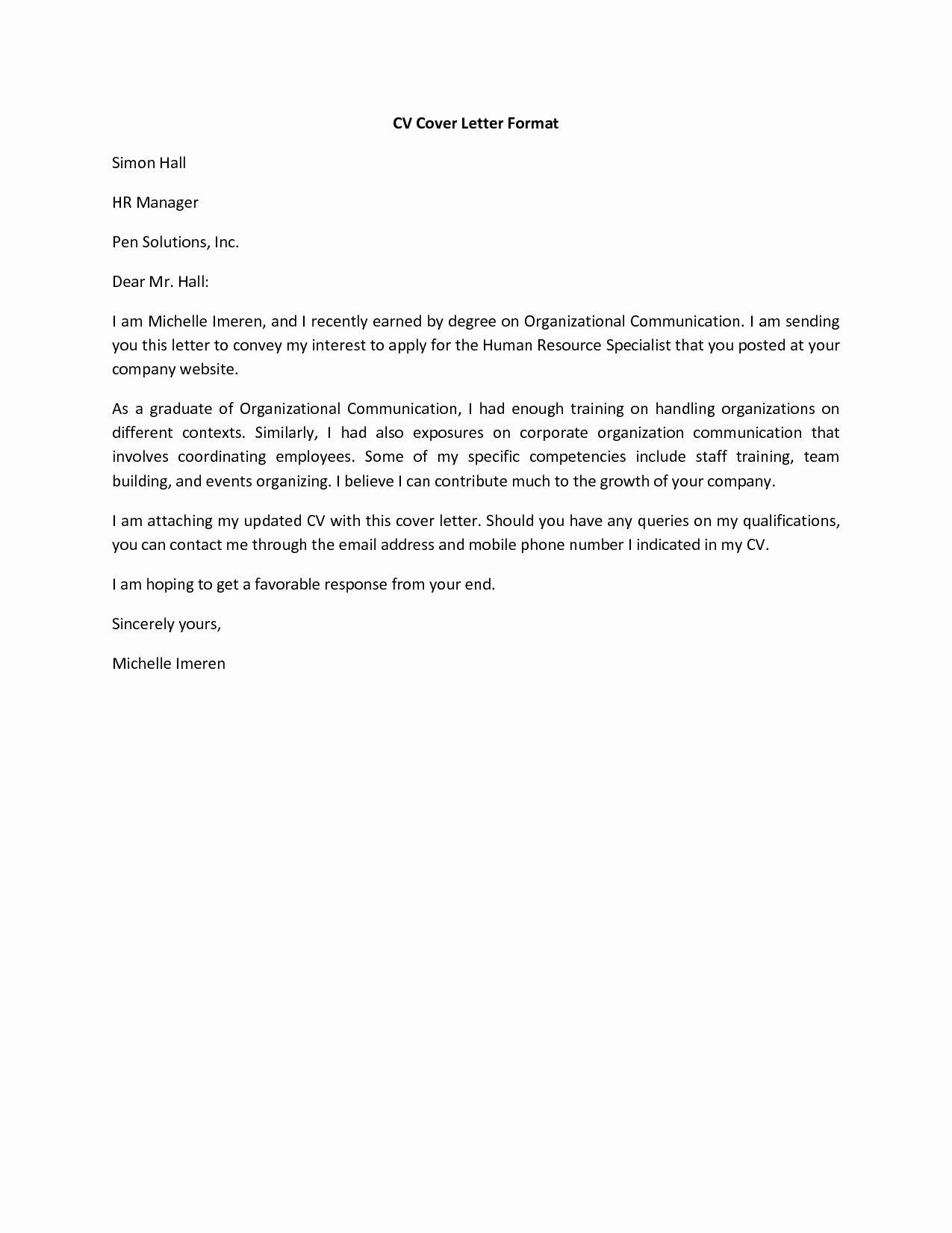 Basic Cover Letter for A Resume
