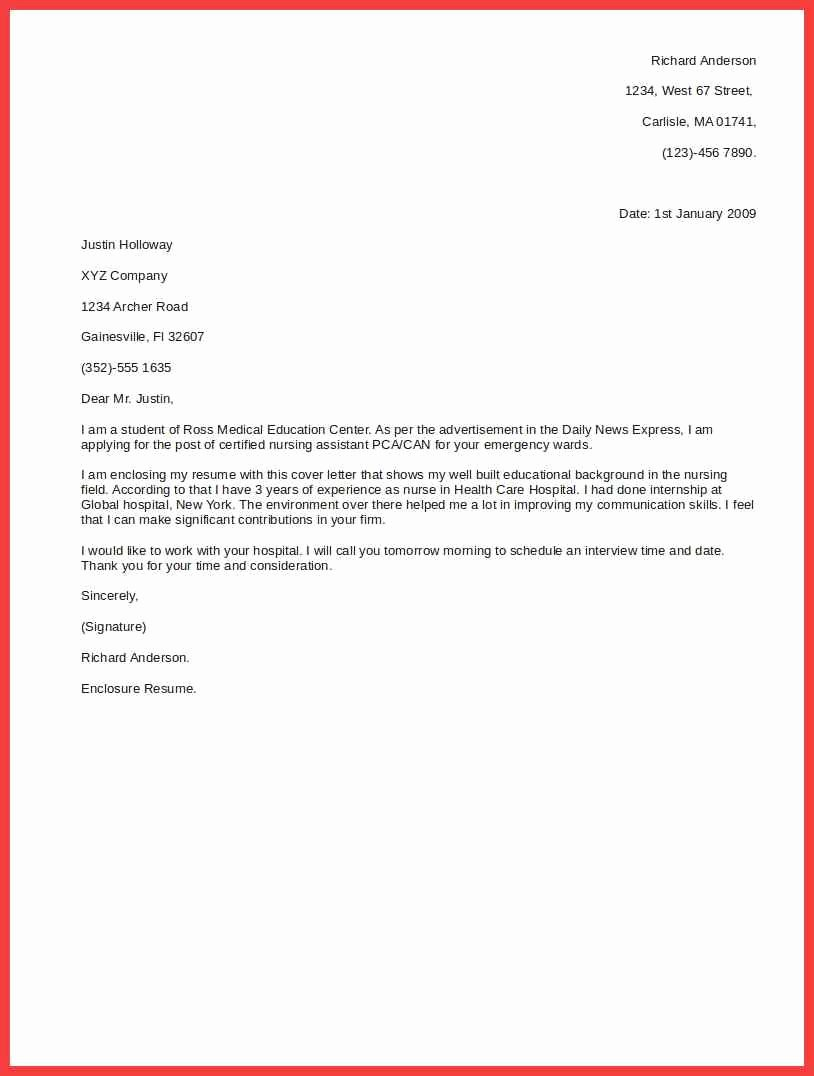 Basic Cover Letter Outline