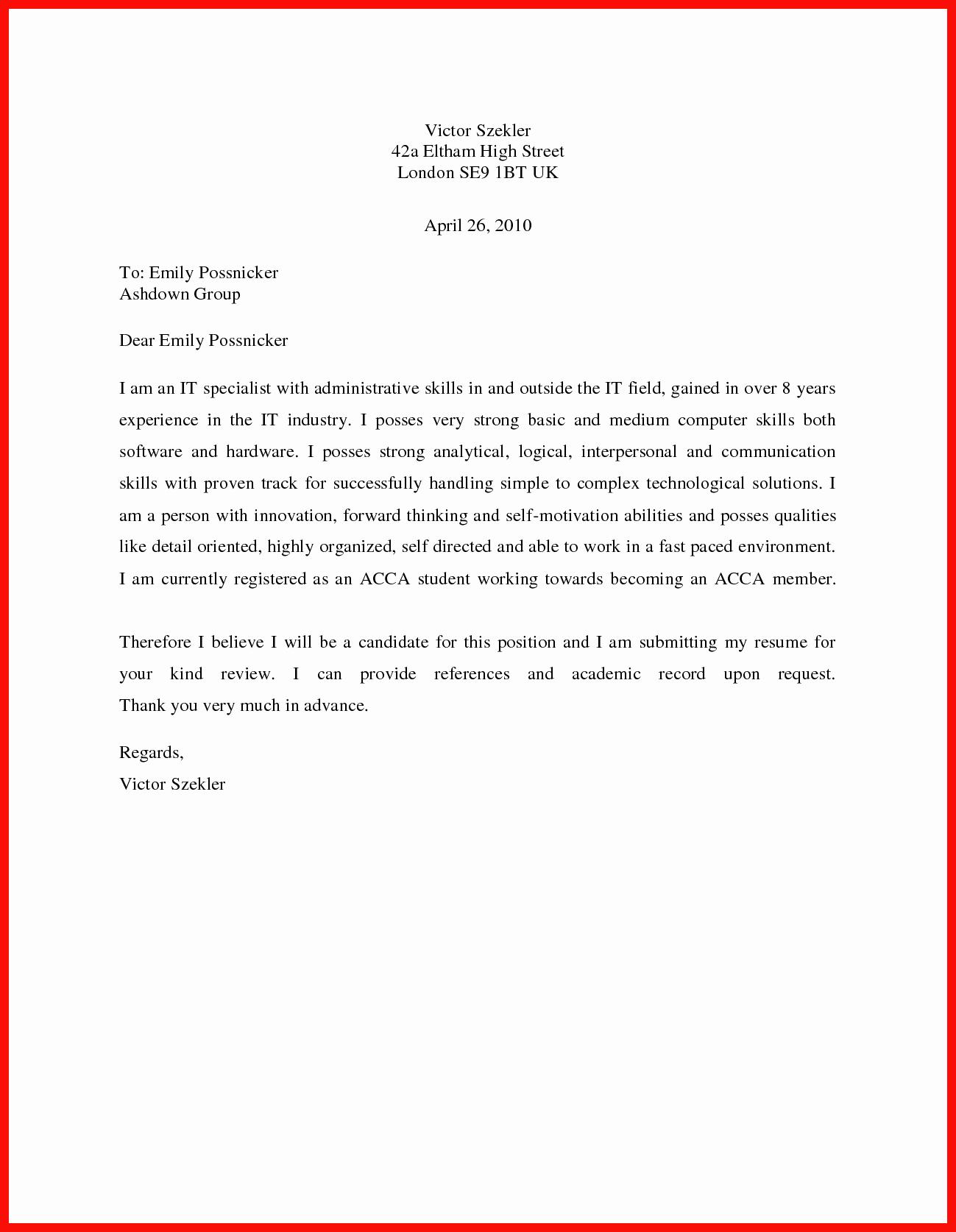 Basic Cover Letter Sample