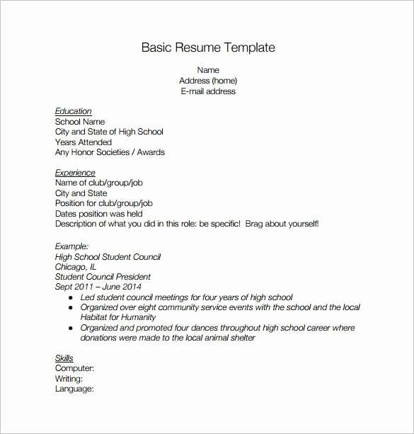 Basic High School Resume Best Resume Collection
