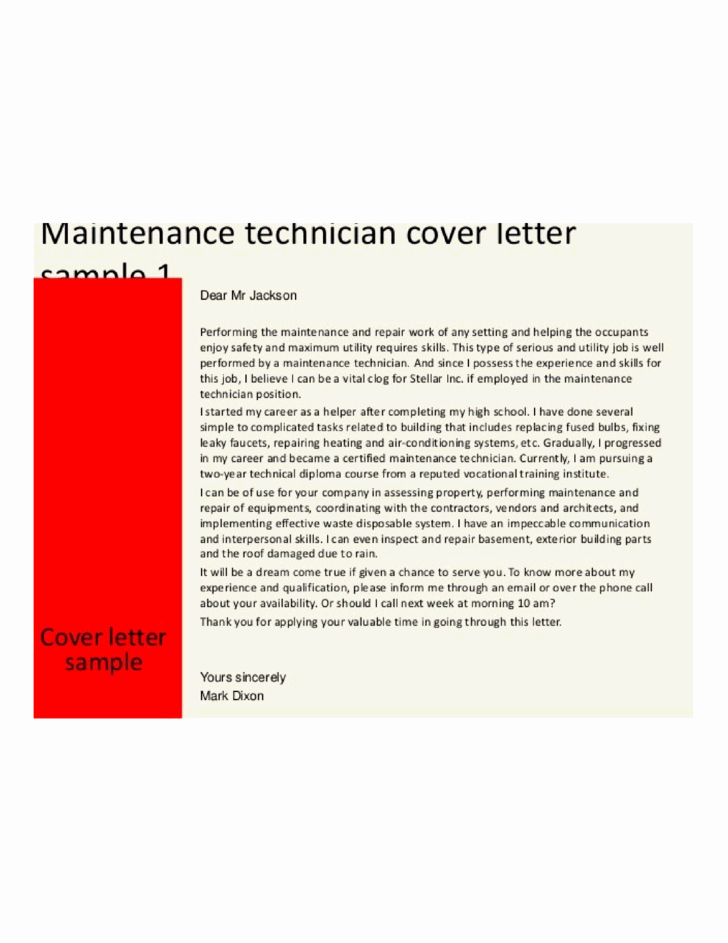 Basic Maintenance Technician Cover Letter Samples and