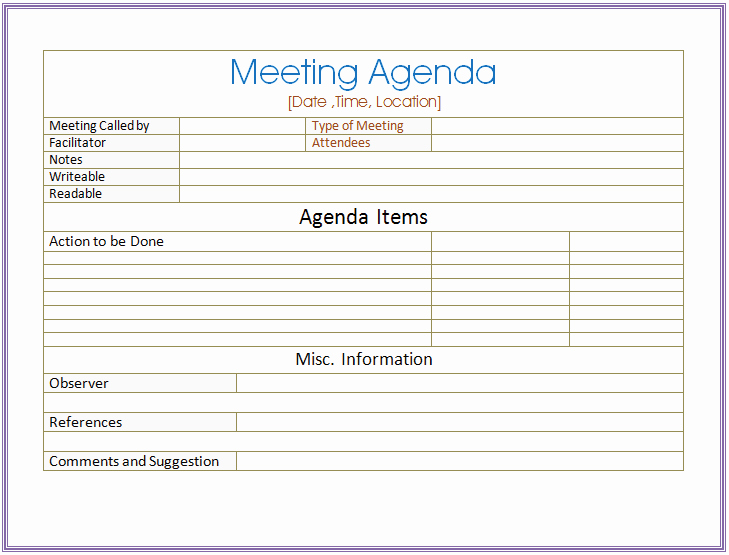 Basic Meeting Agenda Template formal & Informal Meetings