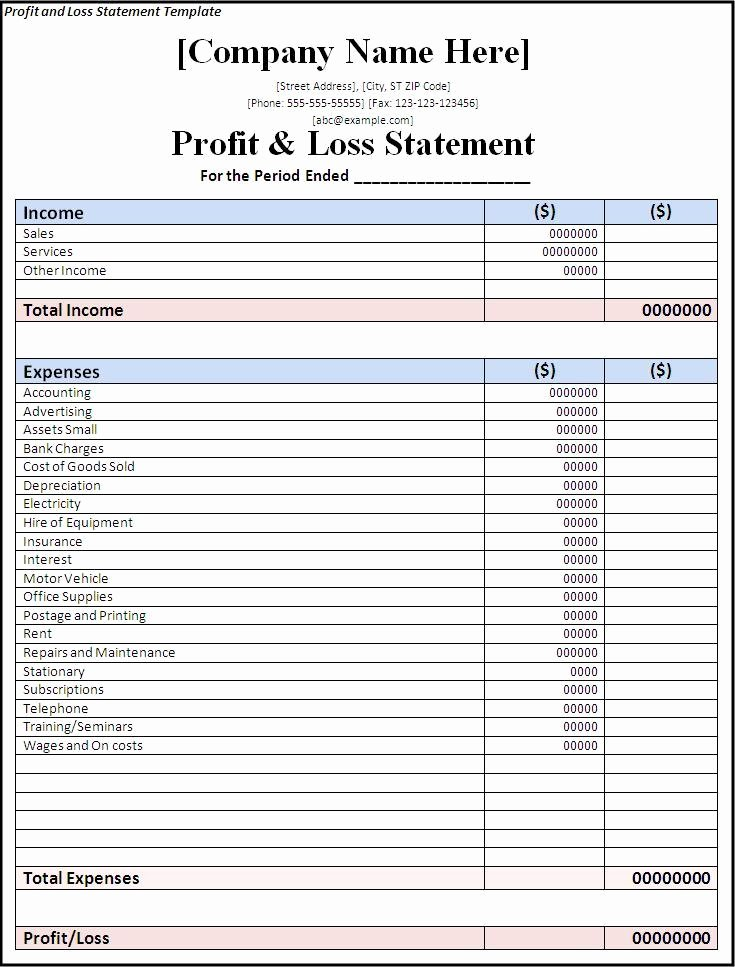 Basic Profit and Loss Statement Template Free Templates