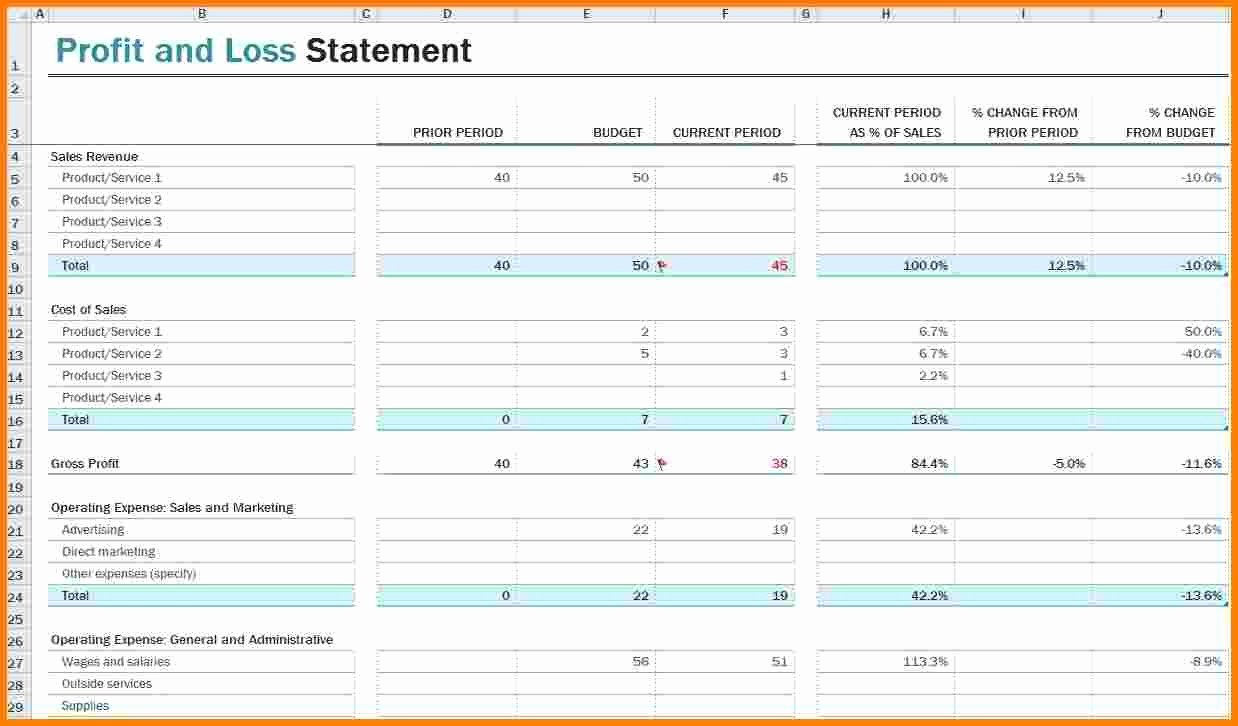 Basic Profit and Loss Statement Template Mughals