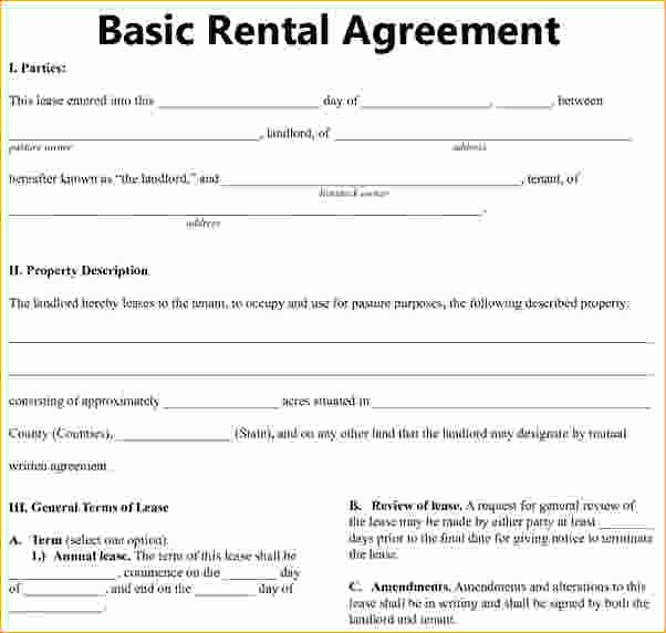 Basic Rental Agreement Residential Lease