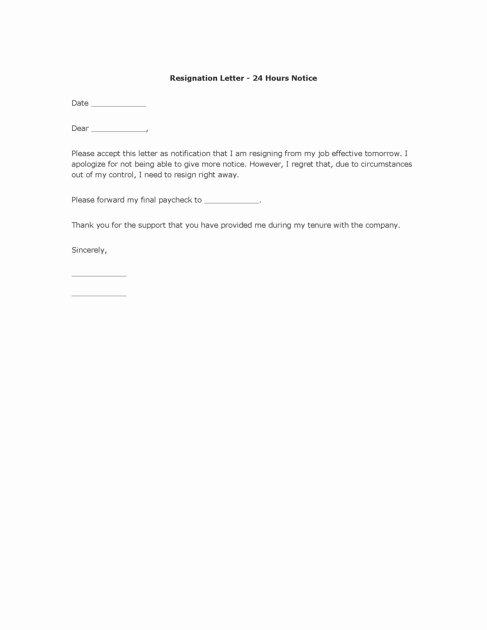 Basic Resignation Letter Resume Templates