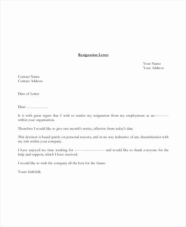 Basic Resignation Letter Template 17 Free Word Pdf