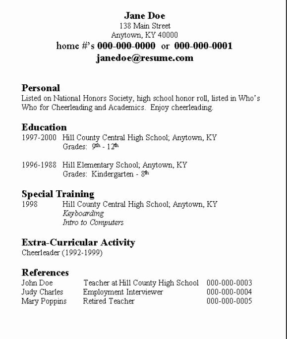 Basic Resume for High School Student Best Resume Collection