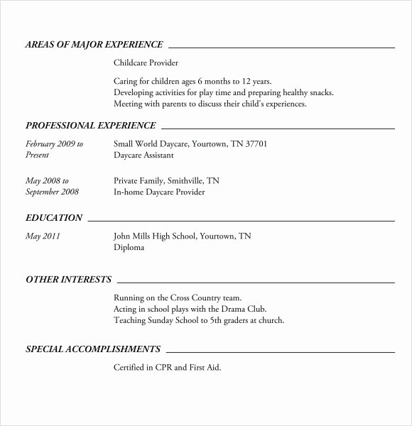 Basic Resume Template for Highschool Students