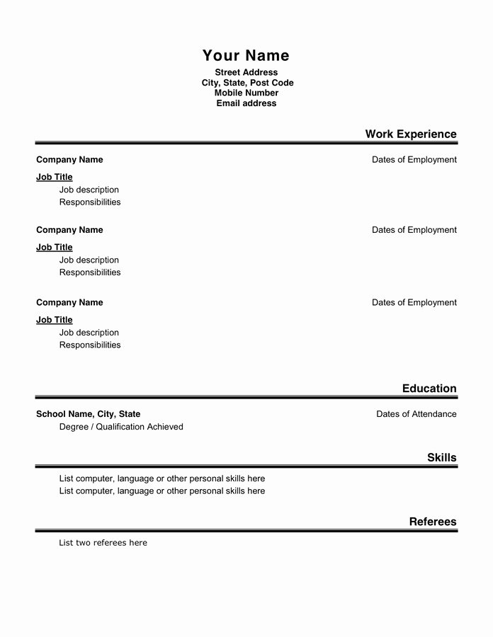 Basic Resume Template format 2 In Word and Pdf formats