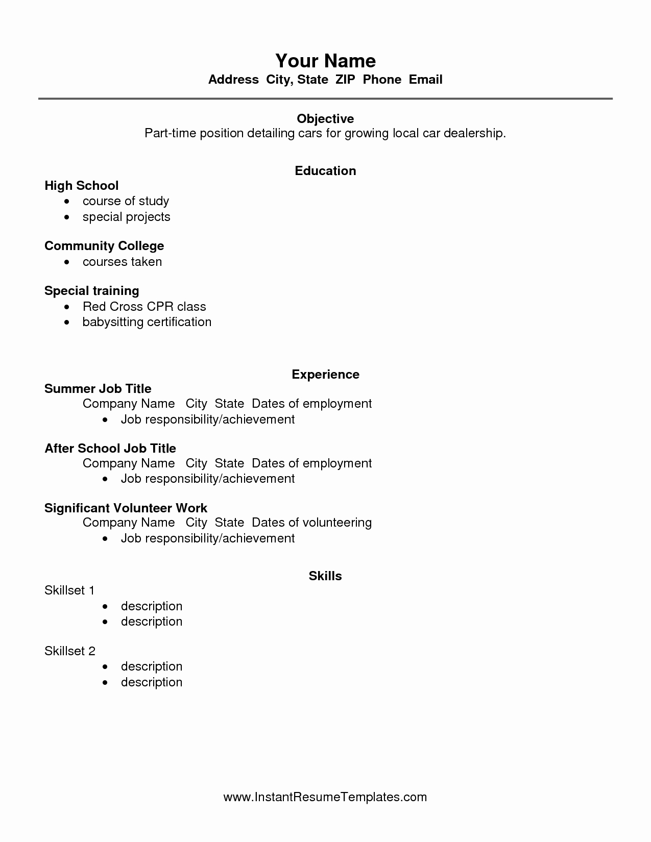 Basic Resume Templates for High School Students Graduate