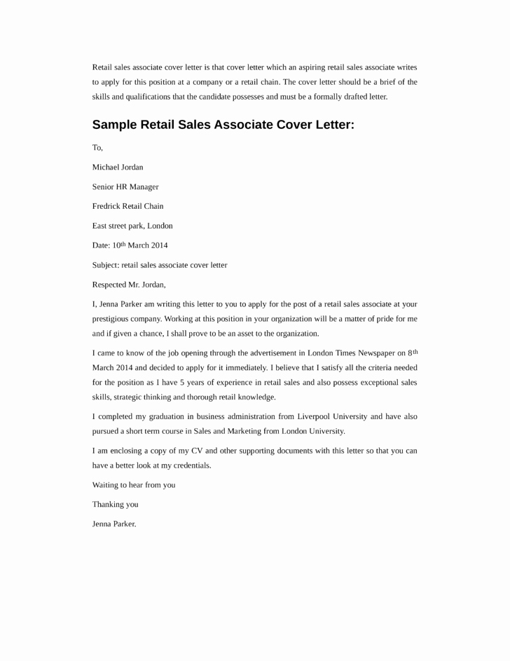 Basic Retail Sales associate Cover Letter Samples and