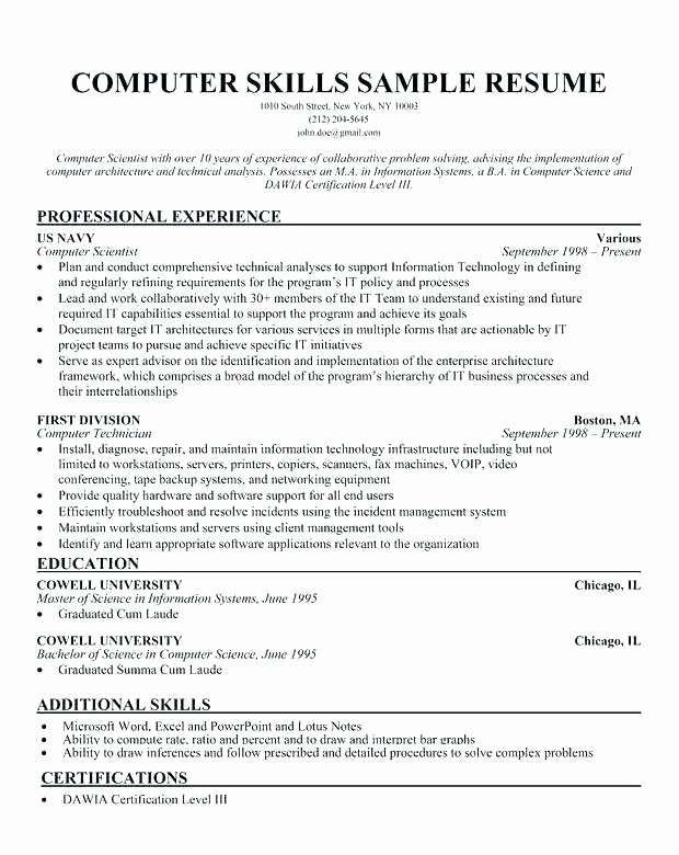 Basic Skills Resume Examples Additional Skills Resume
