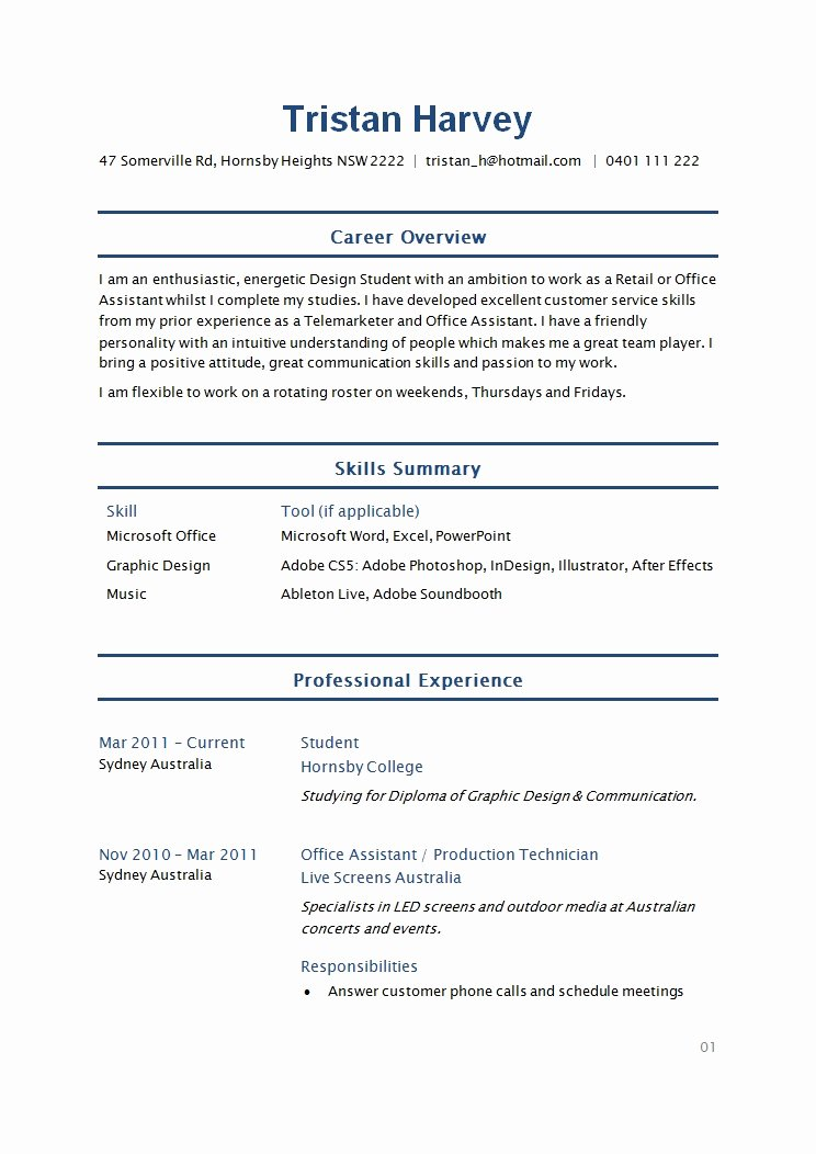 Basic Student Resume Best Resume Collection