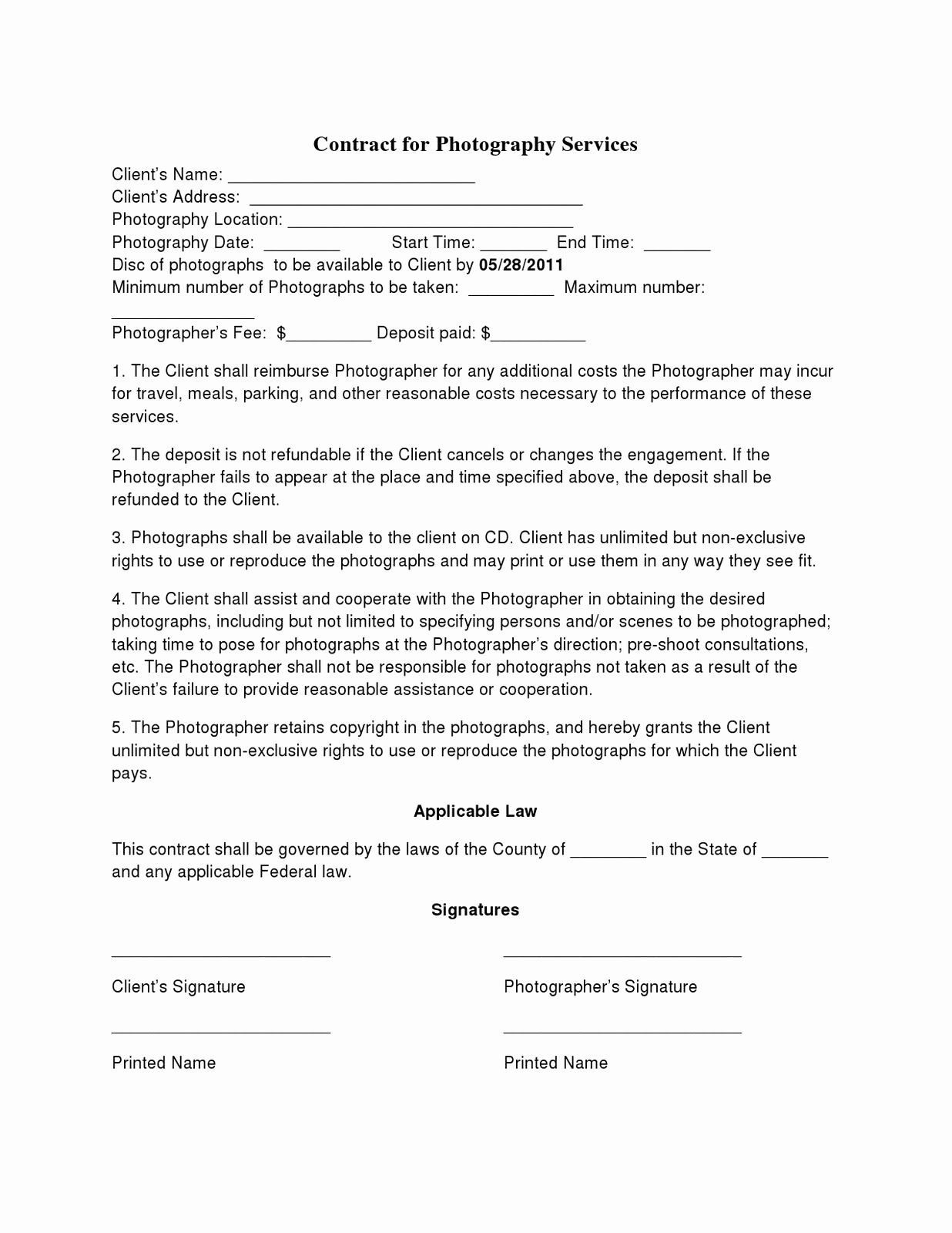Basic Wedding Graphy Contracts