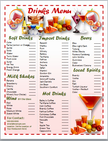 Basic Word Templates for Drinks and Cocktail Menu V M D