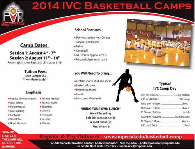 Basketball Camp Brochure Template 20 Best Print Material