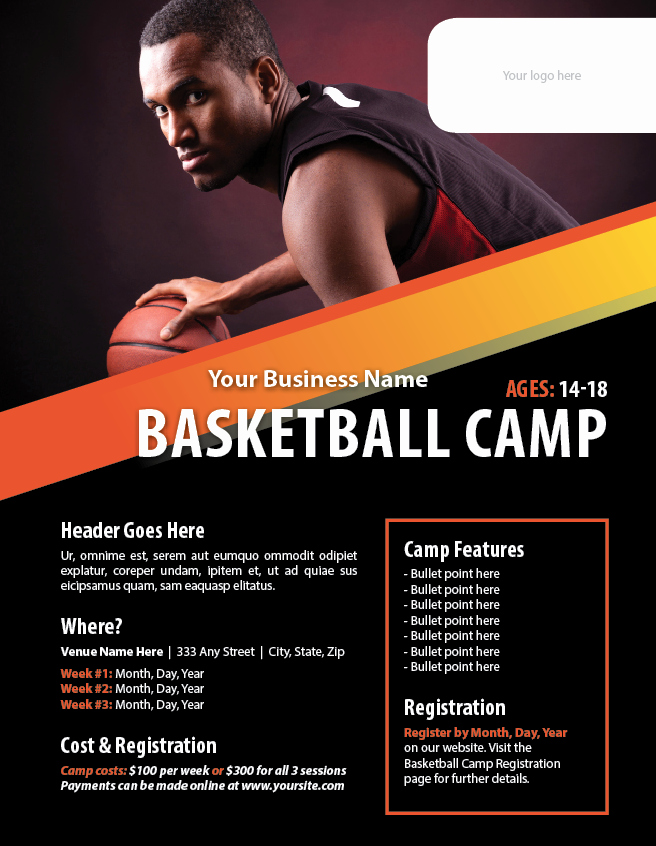 Basketball Camp Flyer Template Poster Templates