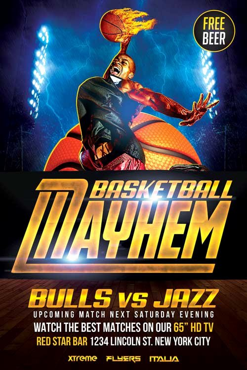 Basketball Flyer Template Psd Download Xtremeflyers