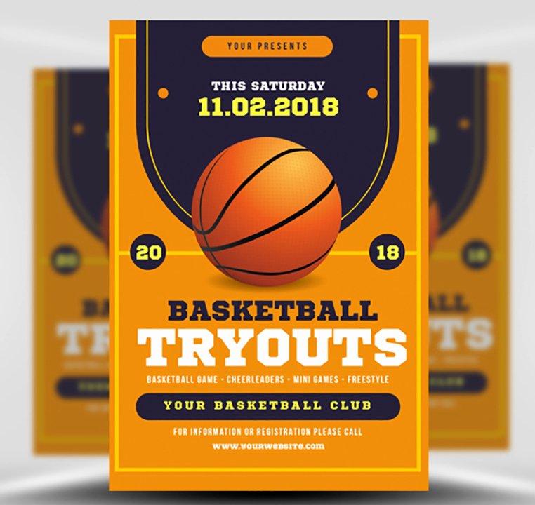 Basketball Tryouts Flyer Template Flyerheroes