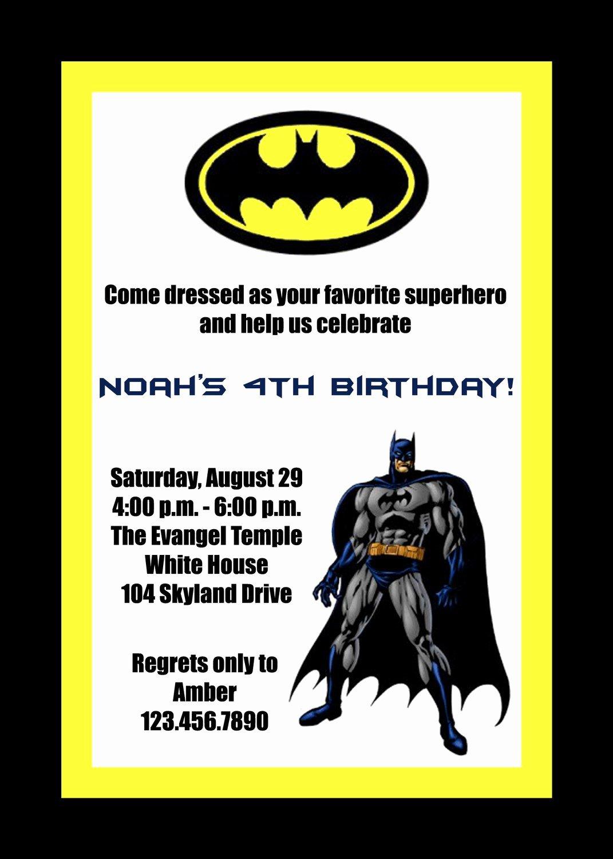 Batman Birthday Invitations Printable