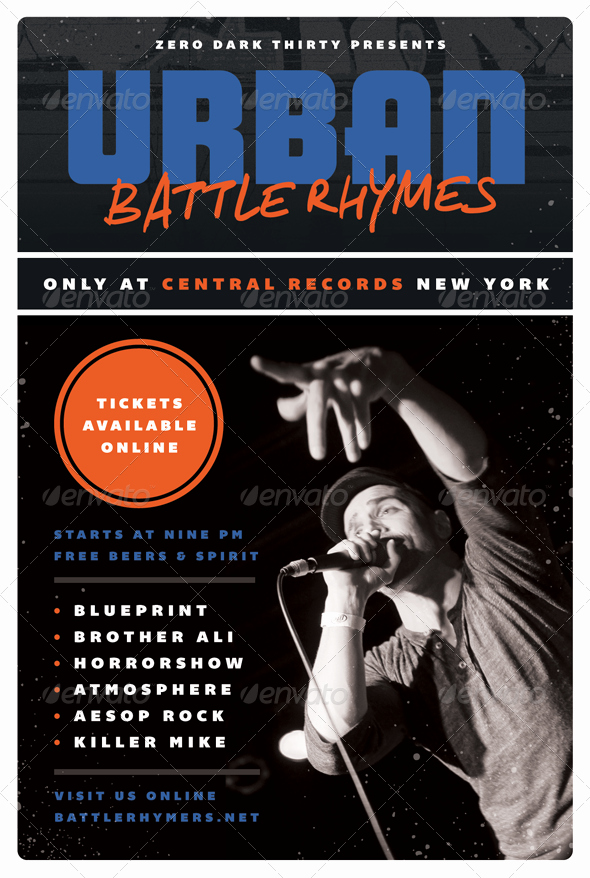 Battle Rhymes Hip Hop Flyer Template