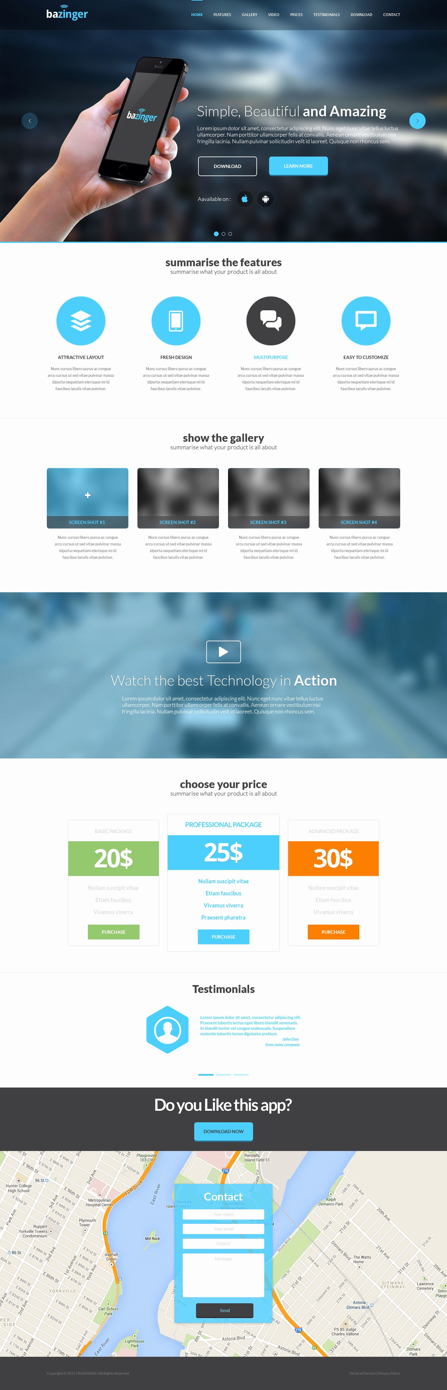 Bazinger Landing Page Free HTML Template